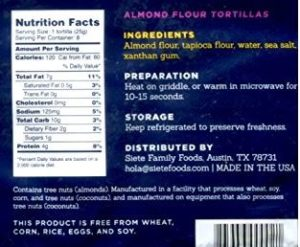 Siete Almond Flour Tortillas Ingredients